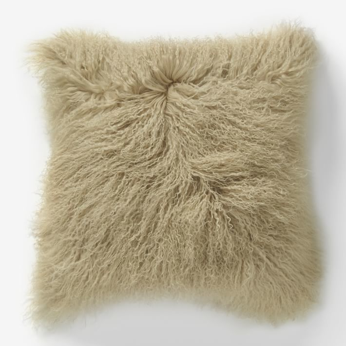 west elm Mongolian Lamb Pillow Cover - Pebble (Square)