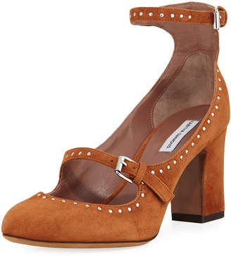 Tabitha Simmons Tutu Studded Suede Buckle Pumps, Camel
