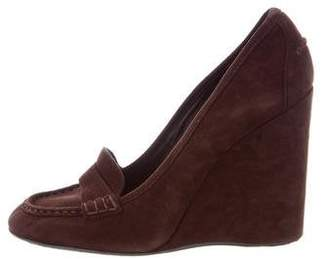 Halston Suede Loafer Wedges