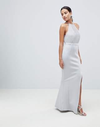 Asos Design DESIGN pearl trim halter fishtail maxi dress