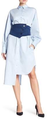 Tibi Corset Asymmetrical Shirt Dress