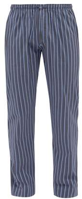 Zimmerli Striped Cotton And Silk Poplin Pyjama Trousers - Mens - Dark Blue