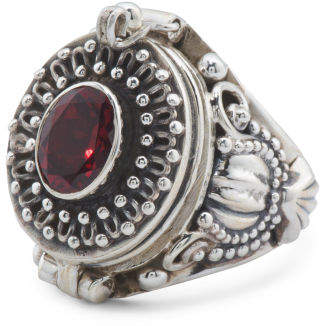 Made In India Sterling Silver Garnet Ring