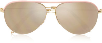 Victoria Beckham - Aviator-style Leather-trimmed Rose Gold-tone Mirrored Sunglasses - one size