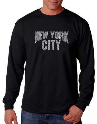 Pop Culture Los Angeles Pop Art Big Men's Long Sleeve T-Shirt - NYC Neighborhoods