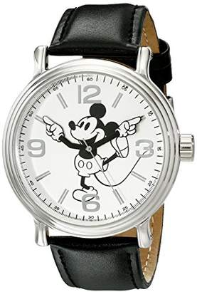 Disney Men's W001853 Mickey Mouse Silver-Tone Watch With Faux-Leather Band