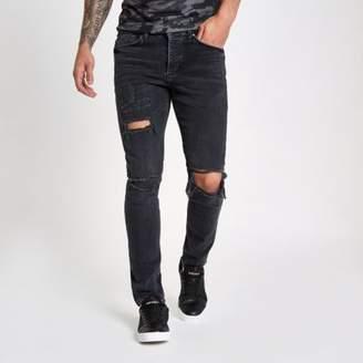 River Island Mens Black wash ripped Sid skinny jeans