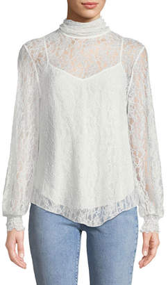 See by Chloe High-Neck Lace Long-Sleeve Blouse
