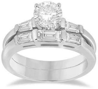 Palladium Allurez Diamond Baguette Engagement Ring and Wedding Band Matching Bridal Set in 0.60cw