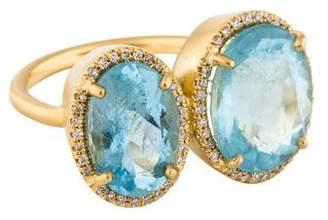 Irene Neuwirth 18K Aquamarine & Diamond Double Ring