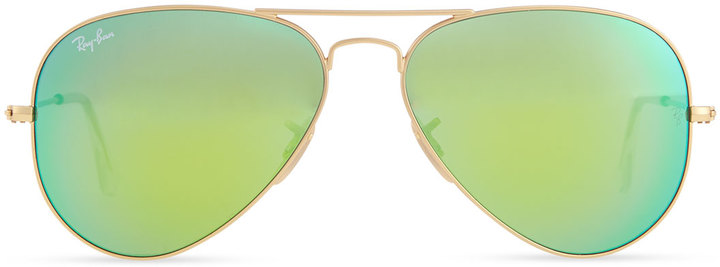 Ray-Ban Aviator Sunglasses with Flash Lenses, Gold/Green Mirror