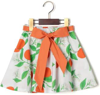 Piccola Ludo BORRAGINE リボンベルト付 プリント フレア スカート オレンジ 6a