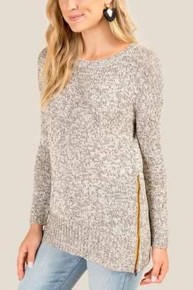 Gia Side Zip Sweater - Heather Gray