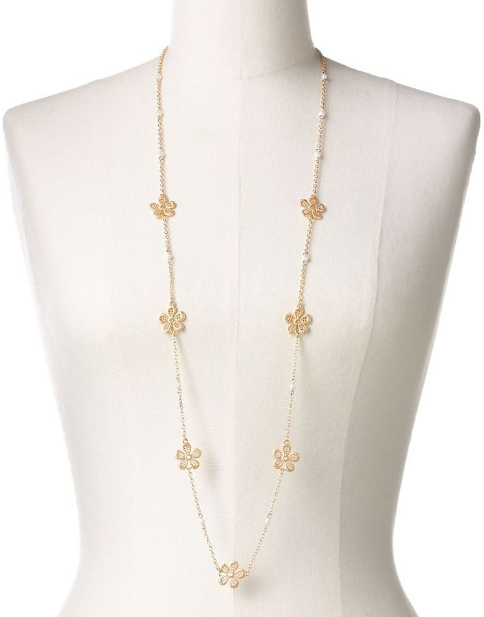 Lauren Conrad gold tone simulated pearl openwork flower long station necklace