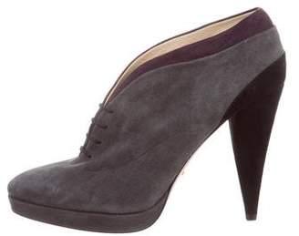 Prada Platform Lace-Up Ankle Booties