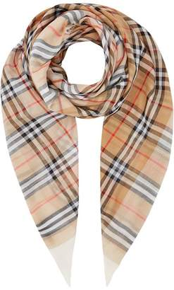 Burberry Cotton Vintage Check Print Scarf