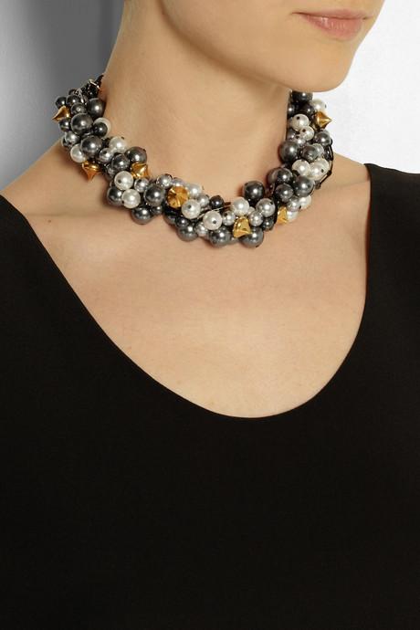 Swarovski VICKISARGE Rhapsody gunmetal-plated pearl necklace