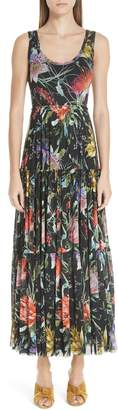 Fuzzi Floral Tulle Tiered Maxi Dress