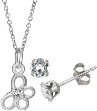 Charming Girl Sterling Silver Crystal Butterfly Pendant Necklace & Stud Earrings Set
