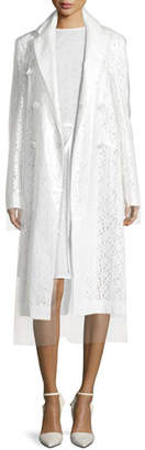 Calvin Klein Double-Breasted 2-Layer Embroidered Long Coat