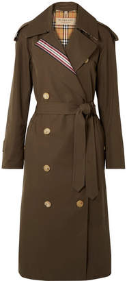 Burberry Striped Cotton-gabardine Trench Coat - Army green