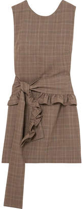 Maggie Marilyn - I've Got Your Back Belted Checked Organic Wool Mini Dress - Brown