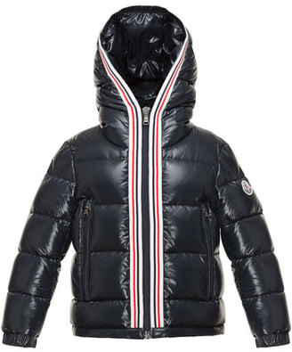 Moncler Maubic Hooded Striped-Trim Puffer Jacket, Navy, Size 4-6 $425 thestylecure.com