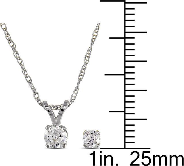 Julie Leah 2/5 CT TW Diamond 14K White Gold Solitaire Necklace and Stud Earrings Set