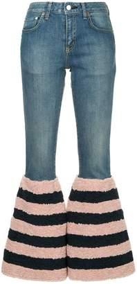 Tu Es Mon Trésor striped flared edge jeans