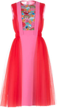 DELPOZO Embroidered Color-Block Tulle And Crepe Dress