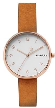 Skagen Signatur Leather Strap Watch, 36mm