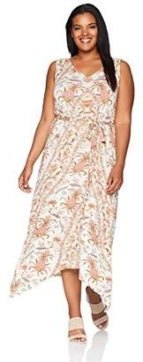 Lucky Brand Women's Size Plus Allover Print V-Neck Maxi Dress