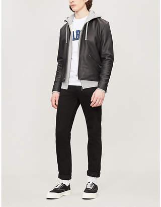 Sandro Band-collar leather jacket