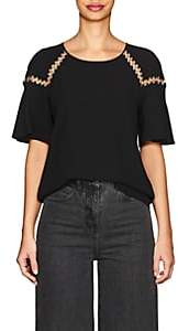 A.L.C. Women's Sheila Ring-Detail Crepe Blouse-Black