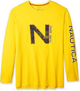 Nautica Men's Big and Tall Printed Long Sleeve Crew Neck Shirt