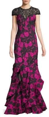Tadashi Shoji Rose Jacquard Illusion Mermaid Gown