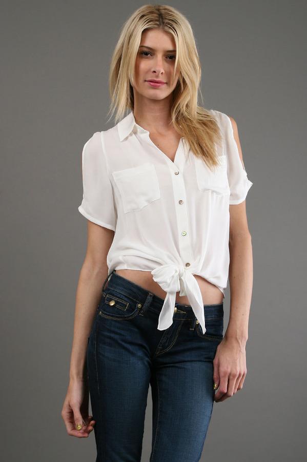 Zoa Open Shoulder Blouse in White