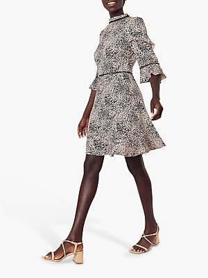 Oasis Leopard Print Skater Dress, Black/White