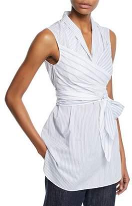 Brunello Cucinelli Sleeveless Striped Wrap Blouse