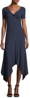 A.L.C. Reva Twist-Front Short-Sleeve A-Line Rib-Knit Dress