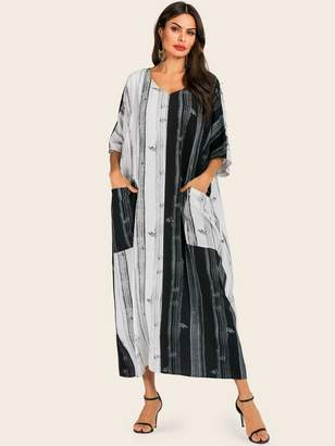 Shein Brushstroke Print Surplice Shirt Dress
