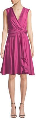 Josie Natori V-Neck Sleeveless Knotted A-Line Dress