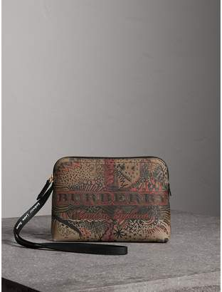 Burberry Large Doodle Print Coated Check Canvas Pouch