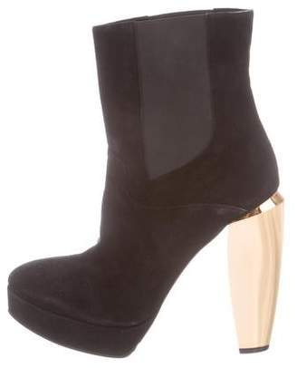 Marni Suede Round-Toe Ankle Boots
