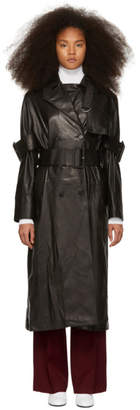 Yang Li ブラック レザー トレンチ コート