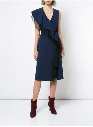ADAM by Adam Lippes Stretch Cady Sleeveless Wrap Dress With Ruffle Trim