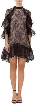 Nha Khanh Irina Lace 3/4-Sleeve Tiered Ruffle Dress