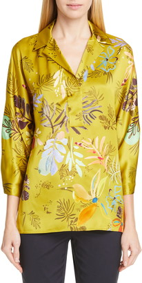 Lafayette 148 New York Maryana Floral Print Blouse