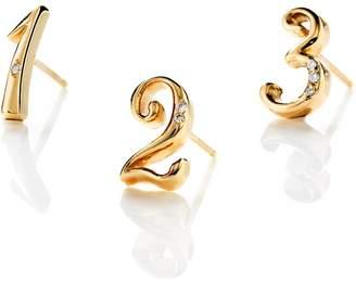 Lulu Frost CODE Number Diamond Stud Earring 18k Gold