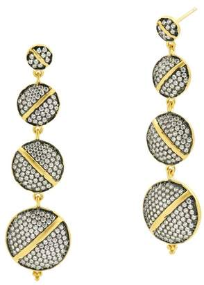 Freida Rothman 14K Gold & Black Rhodium Plated CZ Linear Disc Drop Earrings